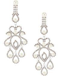 Cezanne - Pearl Filigree Chandelier Statement Earrings - Lyst