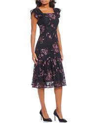 Antonio Melani - Dana Floral Embroidered Ruffle Statement Shoulder Lace Midi Dress - Lyst