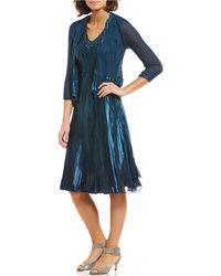 386fd7ad16 Lyst - Komarov V-neck Midi Dress With Jacket in Blue