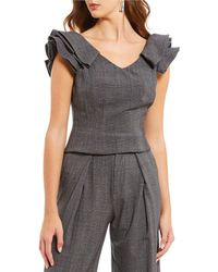 Antonio Melani - Cindi Novelty Shirting Ruffle Sleeve Menswear Coordinating Blouse - Lyst