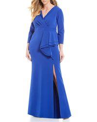 Eliza J - Plus Size Surplice V-neck Ruffle Slit Front Gown - Lyst