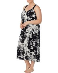 Donna Karan Plus Refined Touch Print Jersey Knit Sleep Gown - Multicolor