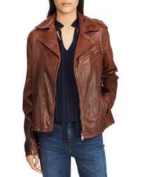 Lauren by Ralph Lauren - Tumbled Leather Moto Jacket - Lyst