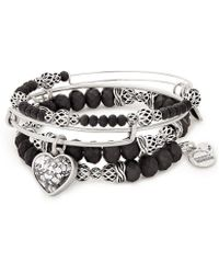 ALEX AND ANI - Crystal Patina Heart 3-piece Bangle Bracelet Set - Lyst