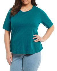 Eileen Fisher - Plus Size Round Neck Elbow Sleeve Top - Lyst