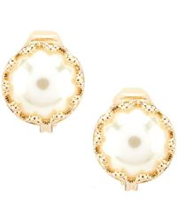 Anne Klein - Pearl Stud Clip Earrings - Lyst
