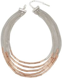 Kenneth Cole - Two-tone Tube Multi Row Statement Necklace - Lyst