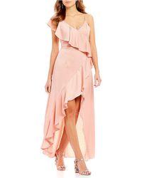 Gianni Bini - Rose Asymmetrical Satin Dress - Lyst