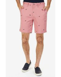 Nautica - Flag Critter Embroidered Flat-front Shorts - Lyst