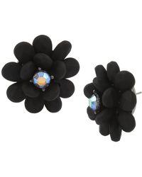 Betsey Johnson - Hematite-tone Crystal Flower Stud Earrings - Lyst