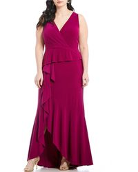 Adrianna Papell - Plus Size Matte Jersey Surplice V-neck Tiered Hi-low Gown - Lyst