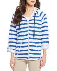 Ruby Rd. - Roll-tab Raglan Sleeve Stripe Zip-front French Terry Hoodie Jacket - Lyst