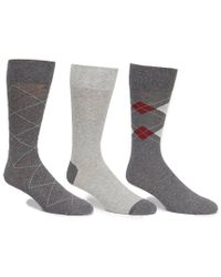 Cole Haan - Argyle And Striped Crew Dress Socks 3-pack - Lyst