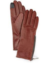 Frye Grain Double Zip Leather Gloves - Multicolour