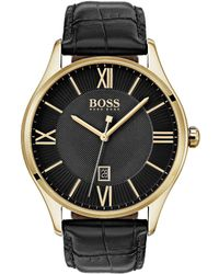 BOSS - Govenor Croc Leather Watch - Lyst