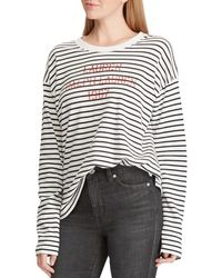 cb6069c1b2202 Lauren by Ralph Lauren - Petite Size Striped Terry Logo Long Sleeve  Sweatshirt - Lyst