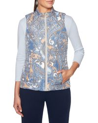 Ruby Rd. - Petite Size Zipper Front Swirl Paisley Print Quilted Reversible Vest - Lyst