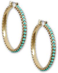 Lucky Brand - Turquoise Beaded Hoop Earrings - Lyst