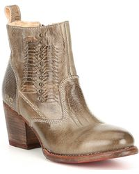 Bed Stu - Shrill P Leather Block Heel Booties - Lyst