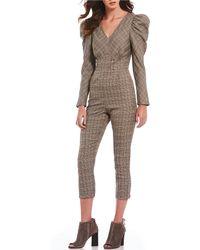 Sugarlips - Menswear Plaid Puffed Statement Shoulder V-neck Cropped Jumpsuit - Lyst