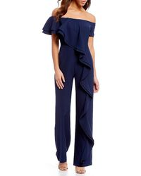 Belle By Badgley Mischka | Off The Shoulder Crepe Jump Suit | Lyst