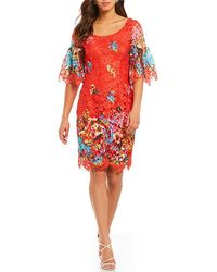 Belle By Badgley Mischka - Bell Sleeve Lace Cocktail Dress - Lyst