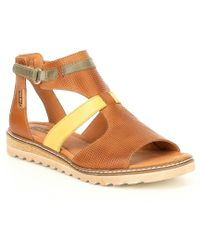Pikolinos - Alcudia Leather Cork Wedge Sandals - Lyst