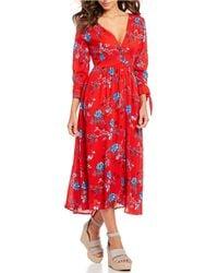 Sugarlips - Floral Print Tie Sleeve V-neck Midi Dress - Lyst