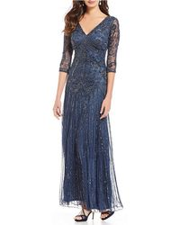 Pisarro Nights - Beaded V-neck 3/4 Sleeve Gown - Lyst