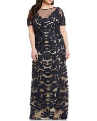 a584ecdd6e5f7 JS Collections - Plus Size Illusion Neck Short Sleeve Embroidered Soutache  Gown - Lyst