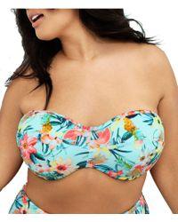 Elomi Plus Aloha Bandeau Bikini Underwire Bra Sized Swimsuit Top