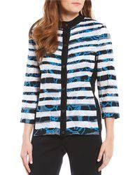 Ming Wang Mandarin Collar Floral Burnout And Stripe Print Washable Jacket - White