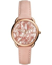 Fossil - Tailor Three-hand Blush Leather Watch - Lyst