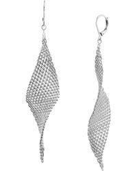 Kenneth Cole - Silver Twist Mesh Drop Earrings - Lyst