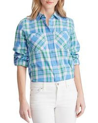 Lauren by Ralph Lauren - Petite Size Plaid Cotton-twill Shirt - Lyst