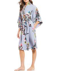 Natori - Garbo Printed Silky Charmeuse Long Wrap Robe - Lyst