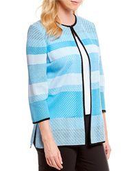 Ming Wang - Jewel Neck Texture Stripe Jacket - Lyst