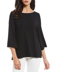 Eileen Fisher - Bateau Neck 3/4 Sleeve Top - Lyst