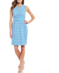c494c104 CALVIN KLEIN 205W39NYC Plus Pearl Inset Split Sleeve Sheath Dress in Blue -  Lyst