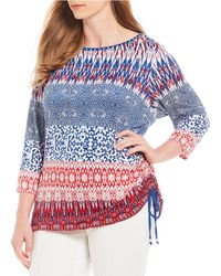 Ruby Rd. - Plus Size Embellished Boat-neck Side Ruching Patched Stripe Border Print Knit Top - Lyst
