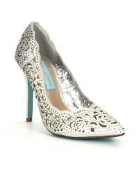 Betsey Johnson - Blue By Elsa Jeweled Laser-cut Satin Pointed-toe Pumps - Lyst