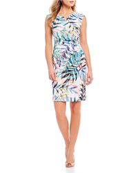 Adrianna Papell - Watercolor Leaves Knit Sheath Dress - Lyst