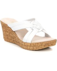 Onex - Bethany Leather Wedge Slide Sandals - Lyst