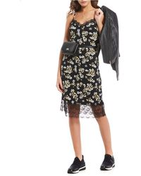 48b12ea2b6e MICHAEL Michael Kors - Glam Painterly Fleur Floral Print Lace Trim Midi  Length Slip Dress -