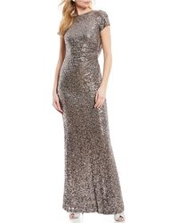 f1395568960 Betsy   Adam - Sequin Cowl Back Short Sleeve Gown - Lyst