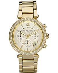 Michael Kors - Parker Goldtone Stainless Steel Chronograph Bracelet Watch - Lyst