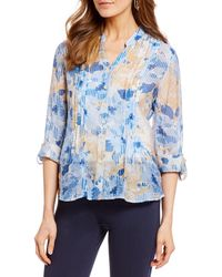 c2b3690d03e Ruby Rd. - Petite Size Roll-tab Sleeve Optical Floral Print Button Front  Tunic