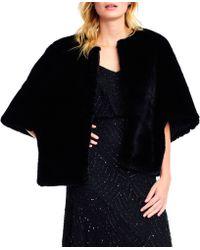 Adrianna Papell - Short Sleeve Faux Fur Jacket - Lyst