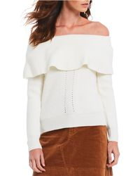Chelsea & Violet - Off-the-shoulder Pointelle Sweater - Lyst
