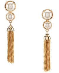 Anne Klein | Chain-tasseled Faux-pearl Clip-on Drop Earrings | Lyst